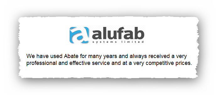 This is an image of a commercial testimonial from Alufab for Abate Pest Control Services.