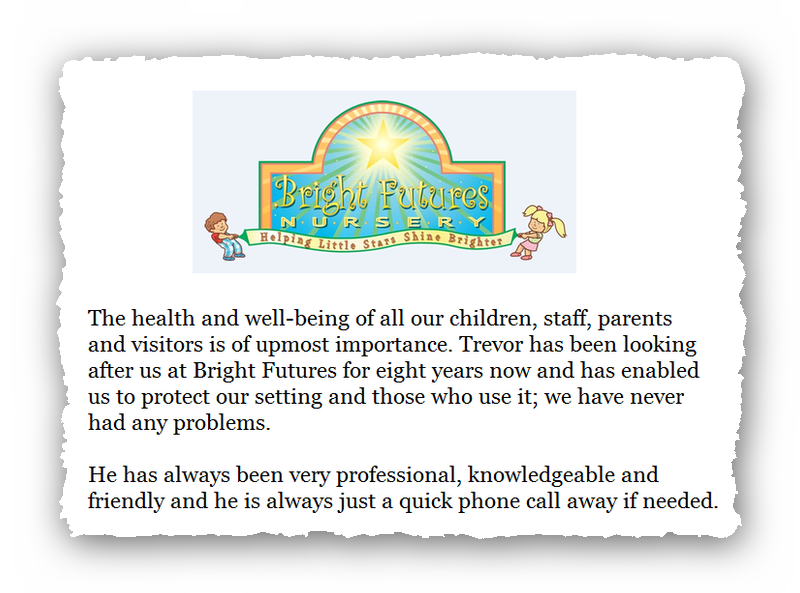 This is an image of a commercial testimonial from Bright Futures for Abate Pest Control Services.