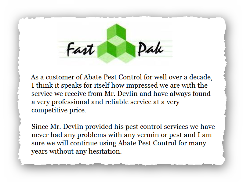 This is an image of a commercial testimonial from FastPak for Abate Pest Control Services.