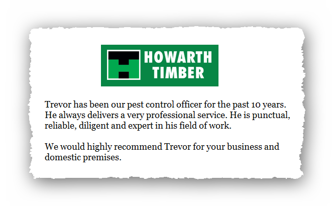 This is an image of a commercial testimonial from Howarth Timber for Abate Pest Control Services.