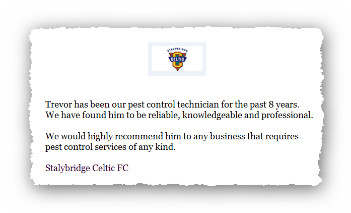 This is an image of a commercial testimonial from Stalybridge Celtic FC for Abate Pest Control Services.