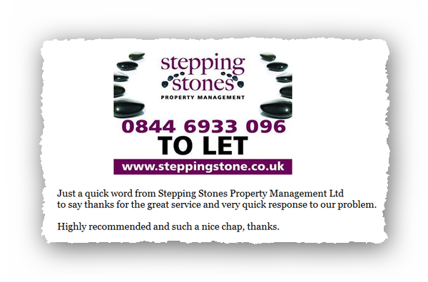 This is an image of a commercial testimonial from Stepping Stones Property Management for Abate Pest Control Services.