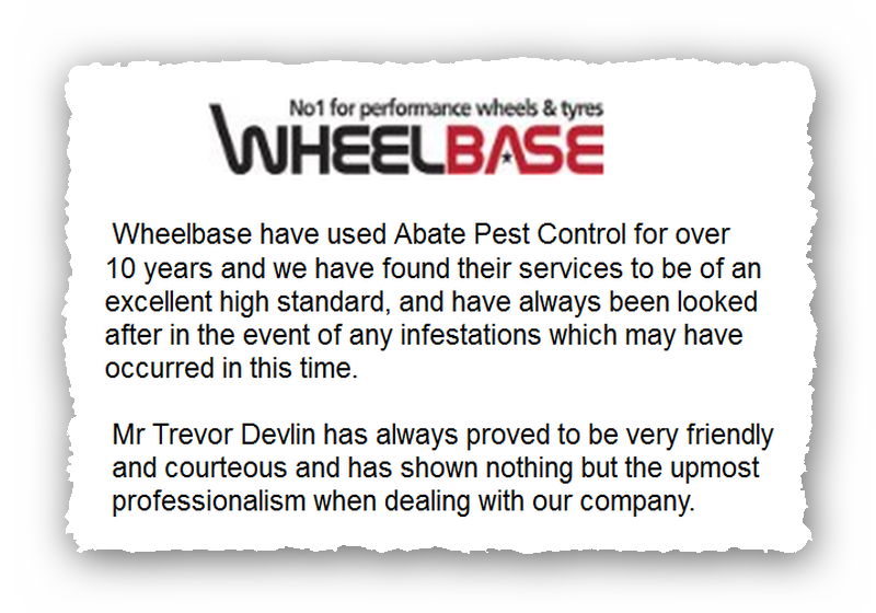 This is an image of a commercial testimonial from Wheelbase for Abate Pest Control Services.